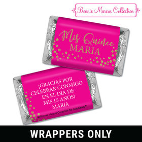 Personalized Bonnie Marcus Quinceanera Gold Sparkle Mini Wrappers Only
