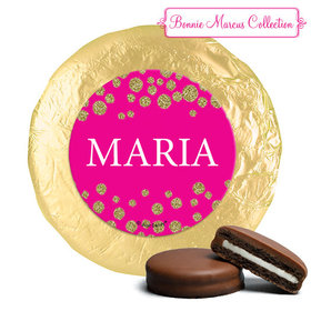 Personalized Bonnie Marcus Quinceanera Gold Sparkle Chocolate Covered Oreos (24 Pack)