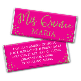 Personalized Bonnie Marcus Quinceanera Gold Sparkle Chocolate Bar Wrappers Only