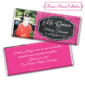 Personalized Bonnie Marcus Quinceanera Pink Sparkle Chocolate Bar & Wrapper