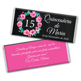Personalized Bonnie Marcus Quinceanera Wreath Chocolate Bar Wrappers Only