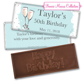 Personalized Bonnie Marcus Birthday Bubbly Party Blue Embossed Chocolate Bar & Wrapper