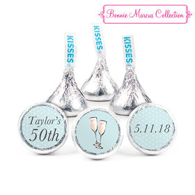 Personalized Bonnie Marcus Birthday Bubbly Party Blue Hershey's Kisses (50 Pack)