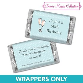 Personalized Bonnie Marcus Birthday Blue Birthday Party Bubbly Mini Wrappers Only