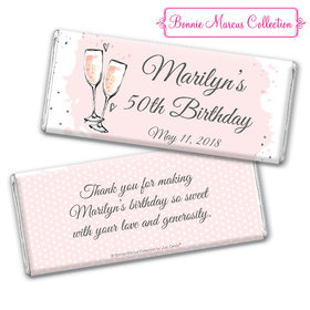 Personalized Bonnie Marcus Birthday Bubbly Party Pink Chocolate Bar & Wrapper