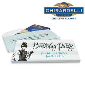 Deluxe Personalized Vogue Birthday Ghirardelli Chocolate Bar in Gift Box