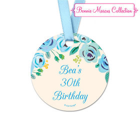 Personalized Round Blue Flowers Birthday Favor Gift Tags (20 Pack)
