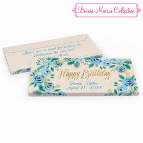 Deluxe Personalized Birthday Blue Flowers Hershey's Chocolate Bar in Gift Box