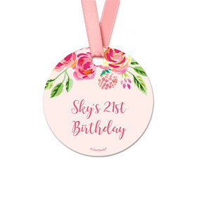 Personalized Round Pink Flowers Birthday Favor Gift Tags (20 Pack)