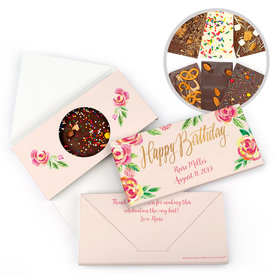Personalized Bonnie Marcus Birthday Pink Flowers Gourmet Infused Chocolate Bars