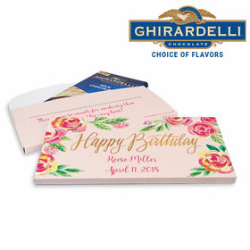 Deluxe Personalized Pink Flowers Birthday Ghirardelli Chocolate Bar in Gift Box