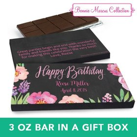 Deluxe Personalized Floral Embrace Chocolate Bar in Gift Box (3oz Bar)