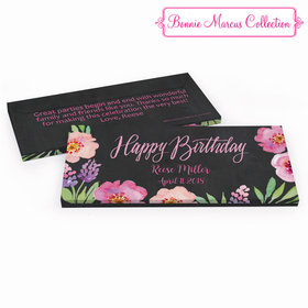 Deluxe Personalized Birthday Floral Embrace Hershey's Chocolate Bar in Gift Box