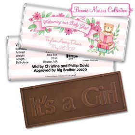 Bonnie Marcus Collection Personalized Embossed Chocolate Bar Birth Announcement Story Time Girl Birth Announcement