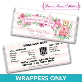 Bonnie Marcus Collection Personalized Chocolate Bar Wrappers Birth Announcement Story Time Girl Birth Announcement