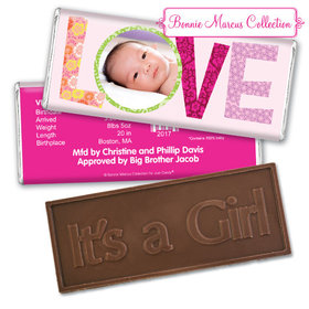Bonnie Marcus Collection Personalized Embossed It's a Girl Bar Love Girl Birth Announcement