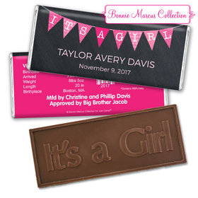 Bonnie Marcus Collection Personalized Embossed It's a Girl Bar It's a Girl Banner Birth Announcement