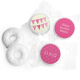 Bonnie Marcus Collection Personalized LIFE SAVERS Mints It's a Girl Chevron Birth Announcement