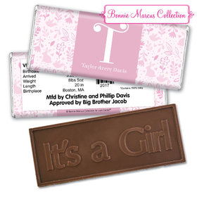 Bonnie Marcus Collection Personalized Embossed It's a Girl Bar Pink Animal Birth Announcement