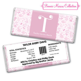 Bonnie Marcus Collection Personalized Chocolate Bar Pink Animal Birth Announcement