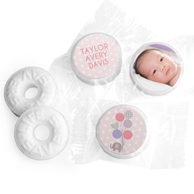 Bonnie Marcus Collection Personalized LIFE SAVERS Mints Baby Elephants Girl Birth Announcement
