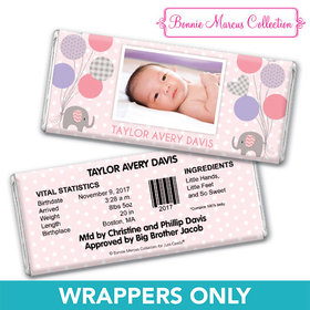 Bonnie Marcus Collection Personalized Wrapper Baby Elephants Girl Birth Announcement