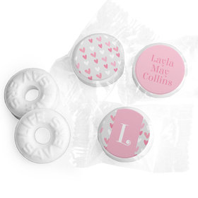 Bonnie Marcus Collection Personalized LIFE SAVERS Mints Pink Hearts Birth Announcement