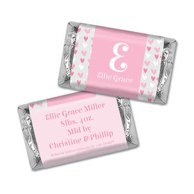 Bonnie Marcus Collection Personalized Chocolate Bar Pink Hearts Birth Announcement