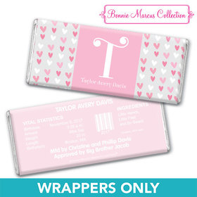 Bonnie Marcus Collection Personalized Wrapper Pink Hearts Birth Announcement