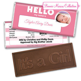 Bonnie Marcus Collection Personalized Embossed It's a Girl Bar Name Tag Girl Birth Announcement
