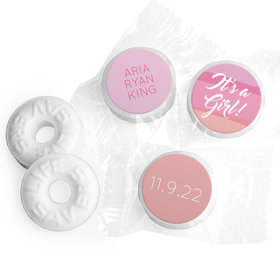 Bonnie Marcus Collection Personalized LIFE SAVERS Mints Watercolor Girl Birth Announcement