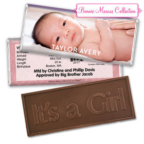 Bonnie Marcus Collection Personalized Embossed It's a Girl Bar Baby Photo Birth Announcement