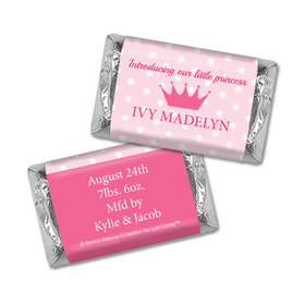Bonnie Marcus Collection Personalized Hershey's Miniatures Wrappers Polka Dots & Crown Girl Birth Announcement