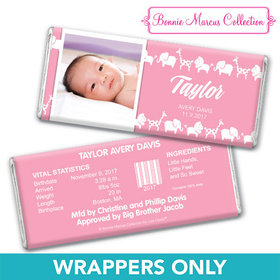 Bonnie Marcus Collection Personalized Wrapper Animal Parade Girl Birth Announcement