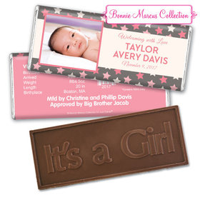 Bonnie Marcus Collection Personalized Embossed It's a Girl Bar Star Girl Birth Announcement