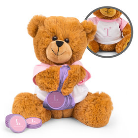 Personalized Birth Announcement Pink Initials Teddy Bear with Chocolate Coins in XS Organza Bag