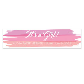 Personalized Watercolor Baby Girl Announcements 5 Ft. Banner