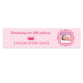 Personalized Polka Dots & Crown Baby Girl Announcements Banner