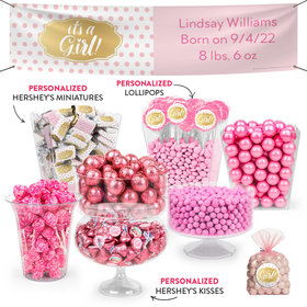 Personalized Girl Birth Announcement It's a Girl Polka Dots Deluxe Candy Buffet