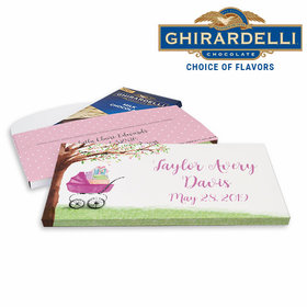 Deluxe Personalized Rockabye Baby Birth Announcement Ghirardelli Chocolate Bar in Gift Box