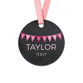 Personalized Round Baby Girl Banner Favor Gift Tags (20 Pack)