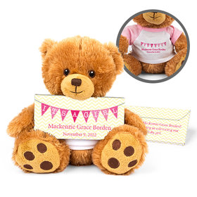 Personalized Birth Announcement It's a Girl Banner Teddy Bear with Embossed Chocolate Bar in Deluxe Gift Box