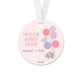 Personalized Round Baby Girl Announcement Elephants Favor Gift Tags (20 Pack)
