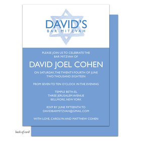 Bonnie Marcus Collection Personalized Blue Star of David Bar Mitzvah Invitation