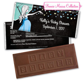 Bonnie Marcus Collection Personalized Embossed Chocolate Bar Personalized Baby Shower Candy Sprinkling Pink