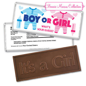 Personalized Bonnie Marcus Gender Reveal Onesies Embossed It's a Girl Chocolate Bar