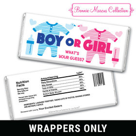 Personalized Bonnie Marcus Gender Reveal Onesies Chocolate Bar Wrappers Only