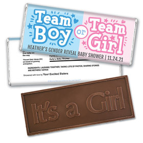 Personalized Bonnie Marcus Gender Reveal Boy or Girl Embossed It's a Girl Chocolate Bar