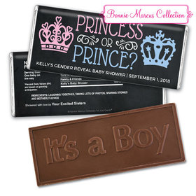 Personalized Bonnie Marcus Gender Reveal Princess or Prince Embossed It's a Boy Chocolate Bar