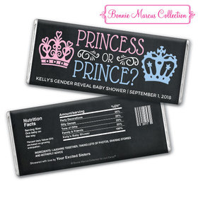 Personalized Bonnie Marcus Gender Reveal Princess or Prince Chocolate Bar & Wrapper